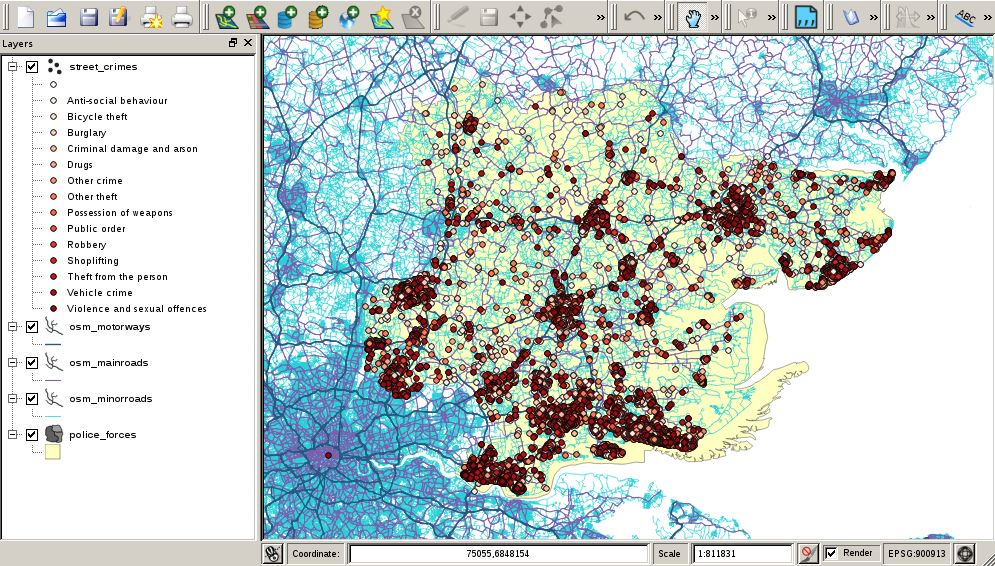 QGIS showing Essex street crimes