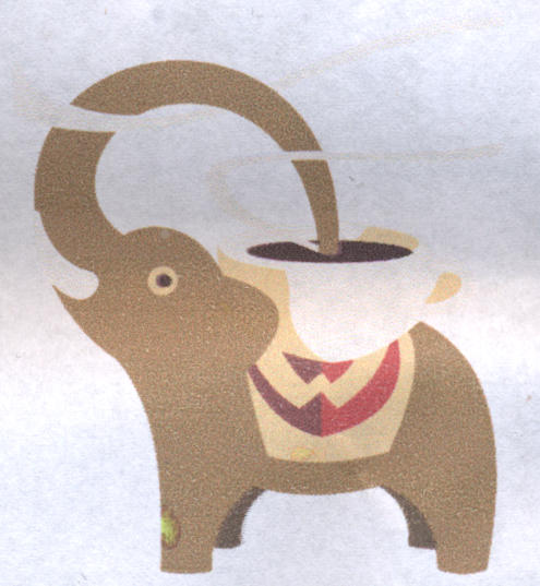 Wakelin's Premium Coffee: elephant drinking hot coffee on its back using its trunk